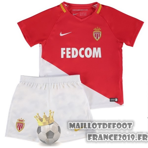 Maillot De Foot Nike Domicile Ensemble Enfant AS Monaco 2017-2018 Blanc Rouge