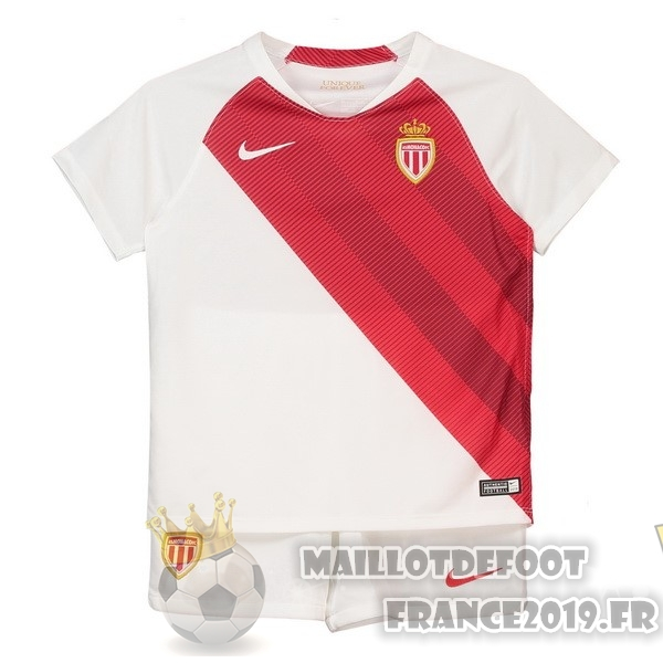 Maillot De Foot Nike Domicile Ensemble Enfant AS Monaco 2018-2019 Blanc Rouge
