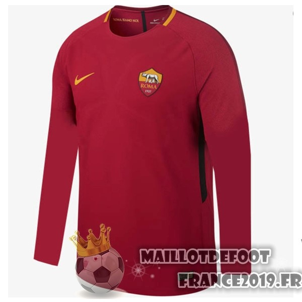 Maillot De Foot Nike Domicile Manches Longues As Roma 2017-2018 Rouge