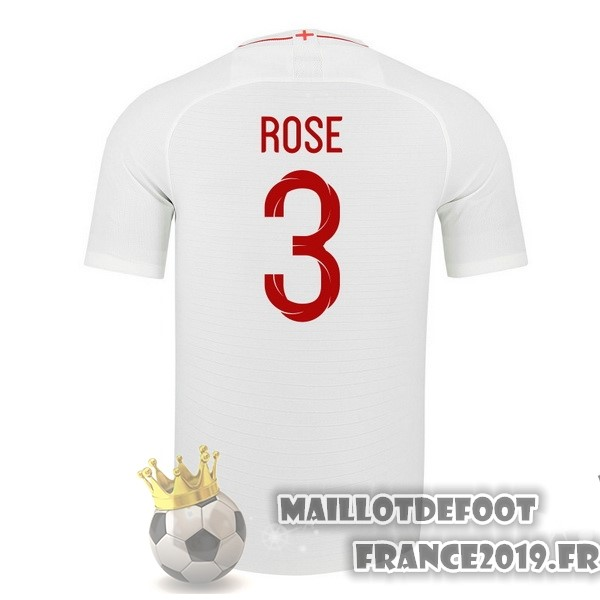 Maillot De Foot Nike NO.3 Rose Domicile Maillots Angleterre 2018 Blanc