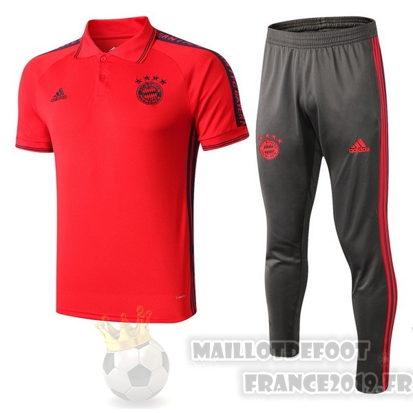 Maillot De Foot adidas Ensemble Polo Bayern Munich 2019 2020 Rouge Gris