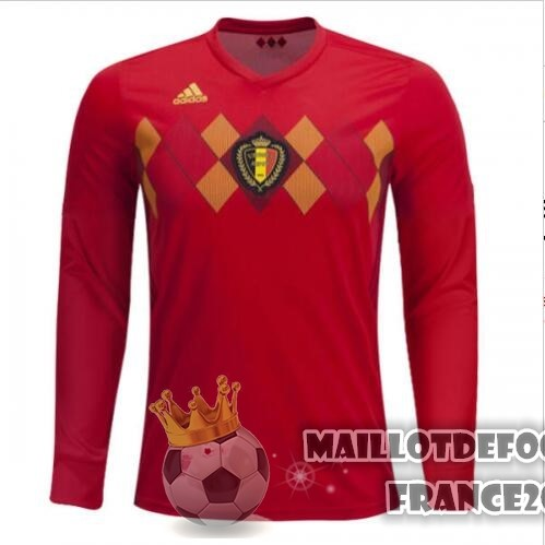 Maillot De Foot adidas Domicile Maillots Manches Longues Belgica 2018 Rouge