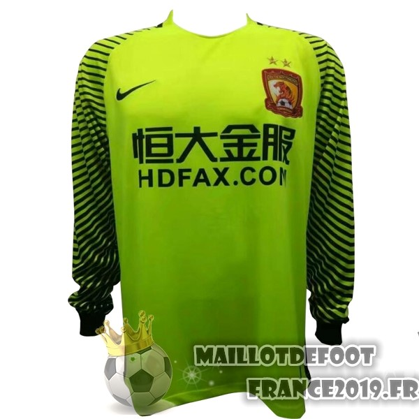 Maillot De Foot Nike Maillots Manches Longues Gardien Evergrande 2017-2018 Vert