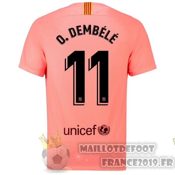 Maillot De Foot Nike NO.11 O.Dembele Third Maillots Barcelona 18-19 Rouge
