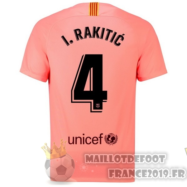 Maillot De Foot Nike NO.4 I.Rakitic Third Maillots Barcelona 18-19 Rouge