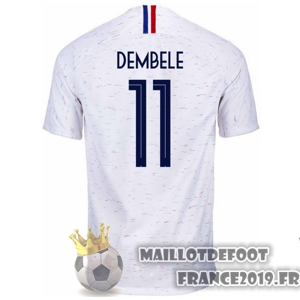 Maillot De Foot Nike NO.11 Dembele Exterieur Maillots France 2018 Blanc