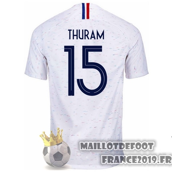 Maillot De Foot Nike NO.15 Thuram Exterieur Maillots France 2018 Blanc