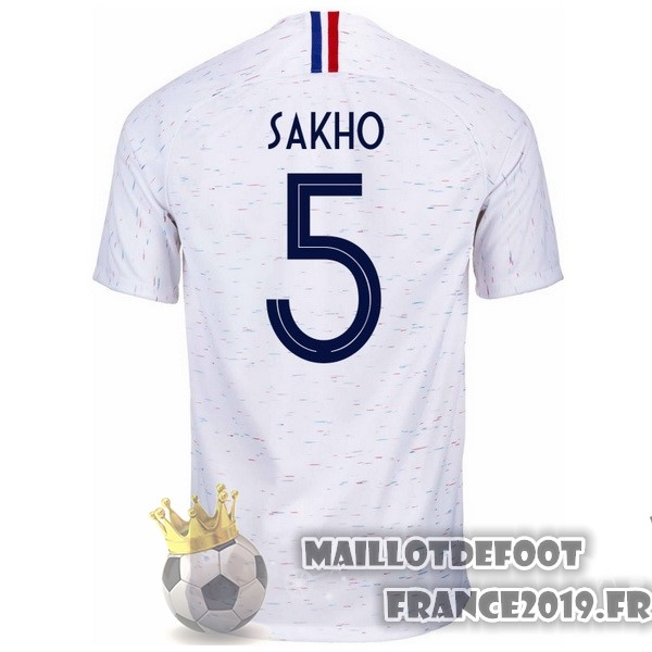 Maillot De Foot Nike NO.5 Sakho Exterieur Maillots France 2018 Blanc