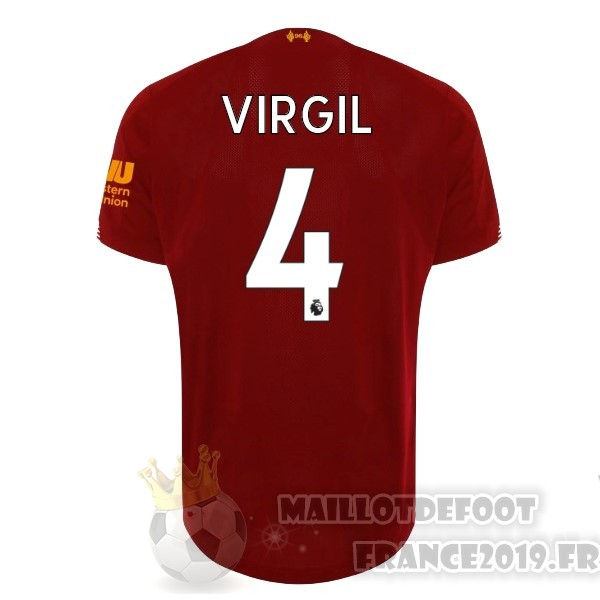 Maillot De Foot New Balance NO.4 Virgil Domicile Maillot Liverpool 2019 2020 Rouge