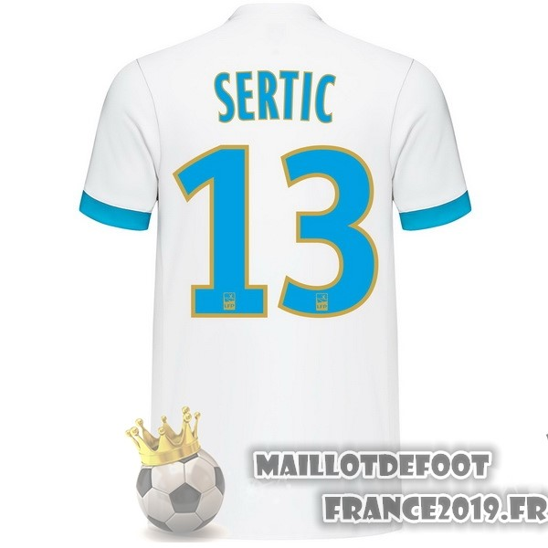 Maillot De Foot adidas NO.13 Sertic Domicile Maillots Marseille 2017-2018 Blanc