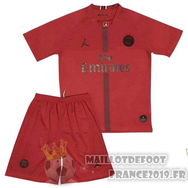 Maillot De Foot JORDAN Ensemble Enfant Gardien Paris Saint Germain 2018-2019 Rouge