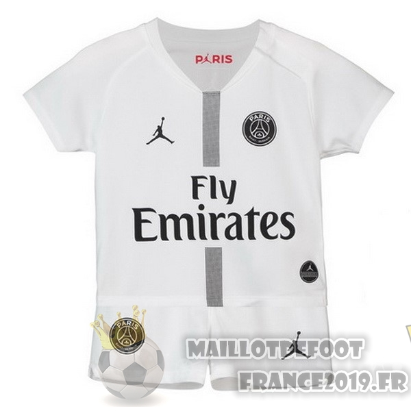 Maillot De Foot JORDAN Third Exterieur Ensemble Enfant Paris Saint Germain 2018-2019 Blanc