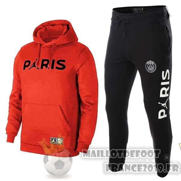 Maillot De Foot JORDAN Survêtements Enfant Paris Saint Germain 18-19 Rouge Noir