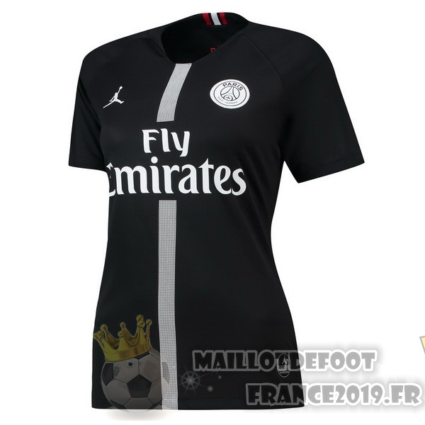 Maillot De Foot JORDAN Third Domicile Maillots Femme Paris Saint Germain 2018-2019 Noir