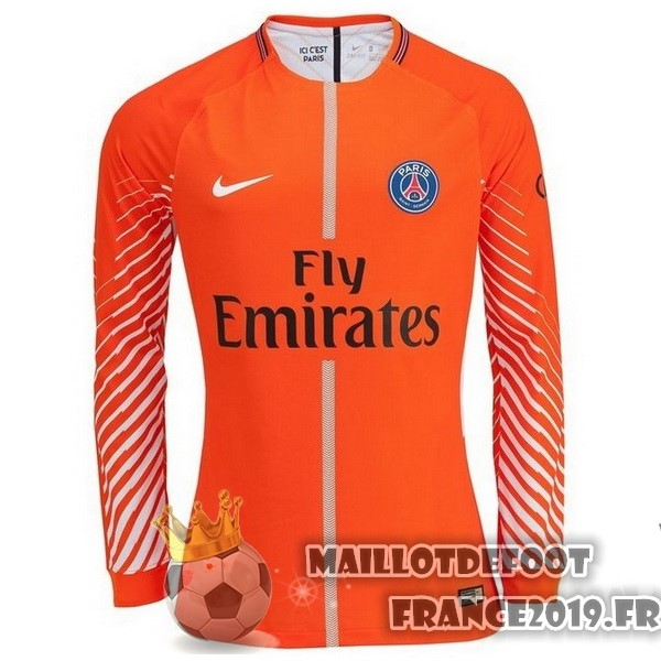 Maillot De Foot Nike Maillots Manches Longues Gardien Paris Saint Germain 2017-2018 Orange
