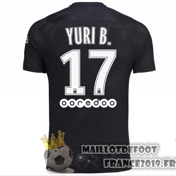 Maillot De Foot Nike NO.17 Yuri B. Third Maillots Paris Saint Germain 2017-2018 Noir