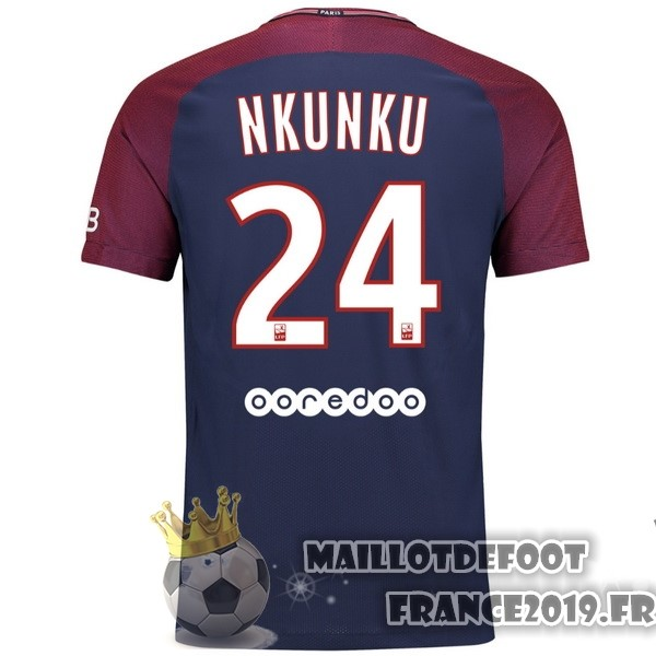 Maillot De Foot Nike NO.24 Nkunku Domicile Maillots Paris Saint Germain 2017-2018 Bleu