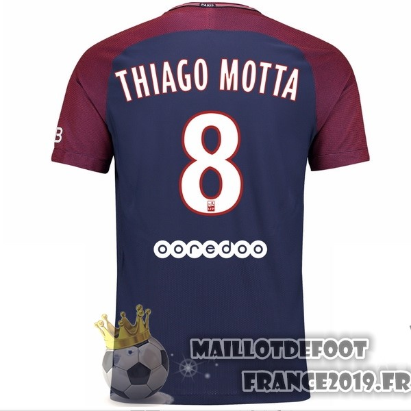 Maillot De Foot Nike NO.8 Thiago Motta Domicile Maillots Paris Saint Germain 2017-2018 Bleu