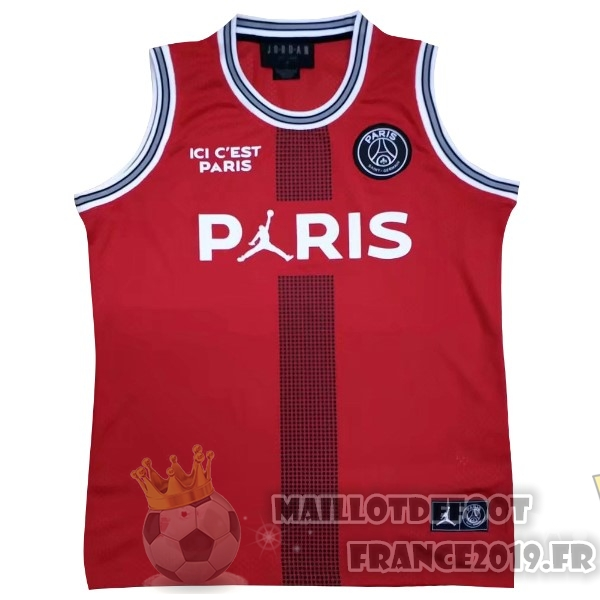 Maillot De Foot JORDAN Maillots Sans Manches Paris Saint Germain 18-19 Rouge