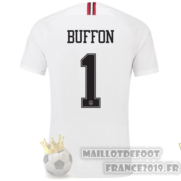 Maillot De Foot JORDAN NO.1 Buffon Third Exterieur Maillots Paris Saint Germain 18-19 Blanc