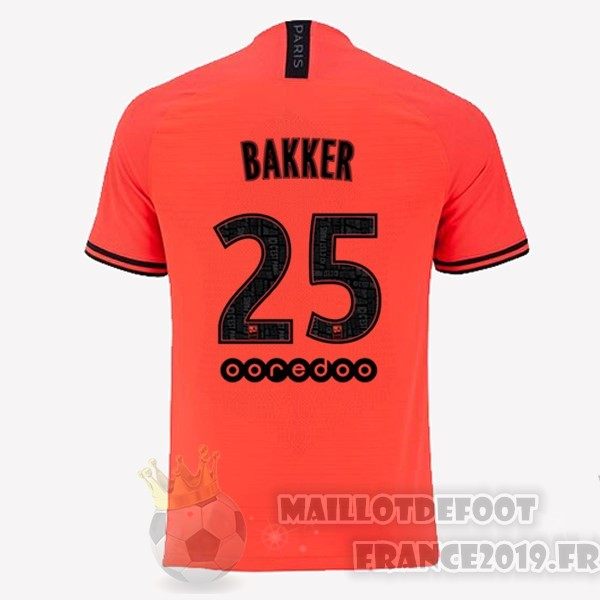 Maillot De Foot JORDAN NO.25 Bakker Exterieur Maillot Paris Saint Germain 2019 2020 Orange