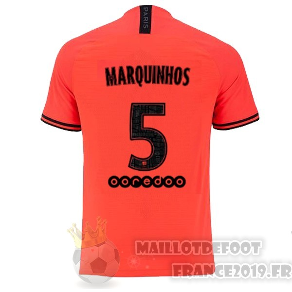 Maillot De Foot JORDAN NO.5 Marquinhos Exterieur Maillot Paris Saint Germain 2019 2020 Orange