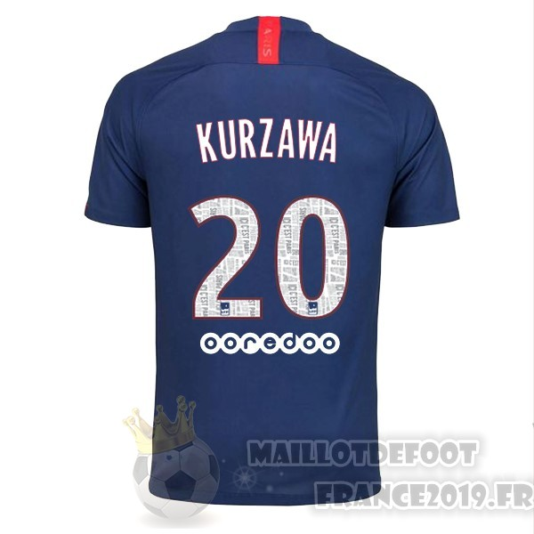 Maillot De Foot Nike NO.20 Kurzawa Domicile Maillot Paris Saint Germain 2019 2020 Bleu
