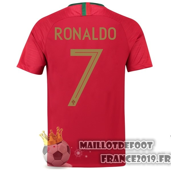 Maillot De Foot Nike NO.7 Ronaldo Domicile Maillots Portugal 2018 Rouge