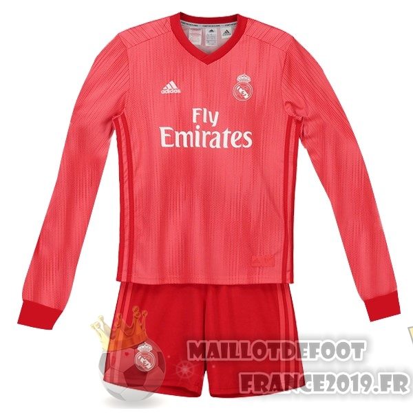 Maillot De Foot adidas Third Manches Longues Ensemble Enfant Real Madrid 18-19 Rouge