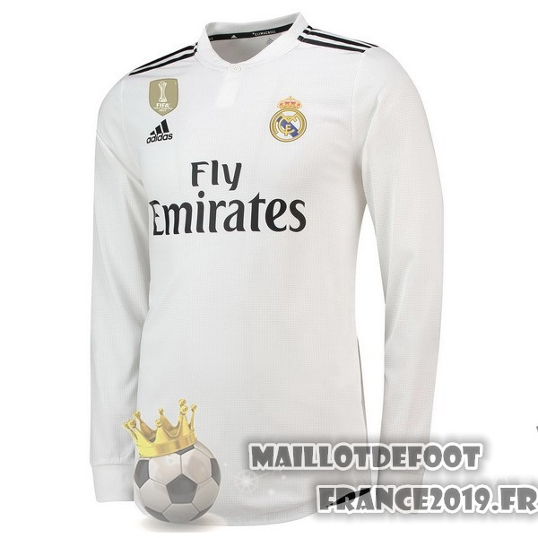 Maillot De Foot adidas Domicile Manches Longues Real Madrid 2018-2019 Blanc