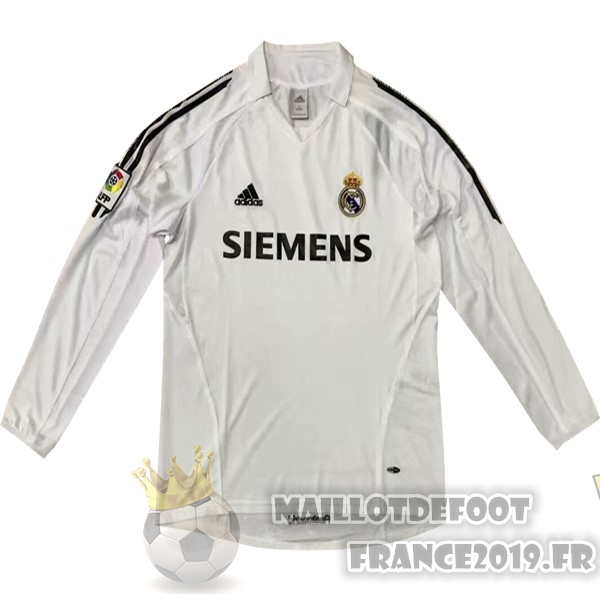 Maillot De Foot adidas Domicile Maillots Manches Longues Real Madrid Rétro 05-06 Blanc
